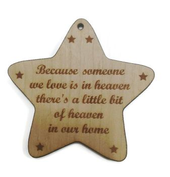 Star shape christmas tree hangers with quote someone we love in heaven 4mm thick