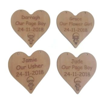 3D Page Boy / Flower Girl Plaques Personalised Both Sides Plywood