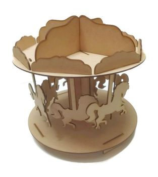 Wooden MDF 3D horse carousel 3mm MDF Children Party Circus Fairground