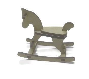 Small 3D Rocking horse 6mm MDF 130mm high - Perfect for small figures to sit on