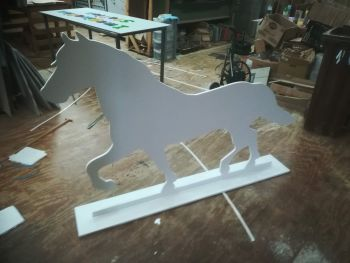 MDF Wooden Large Horse Shape 15mm Thick Freestanding With Base 4ft High 6ft Wide PAINTED