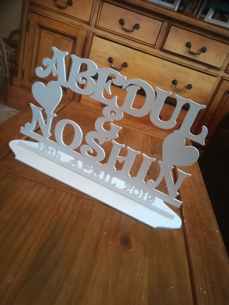 MDF Wooden Wedding / Name Stand Heart (custom made) - Painted