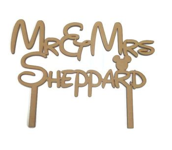 MDF 100mm High Cake Topper - Mr & Mrs Disney Style
