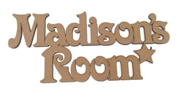 MDF Wooden 'Custom Name' Room Childrens Bedroom Door 3mm MDF Hanging Any Name