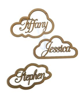 MDF Wooden Personalised Cloud Name Various Sizes 3mm MDF Any Name Available