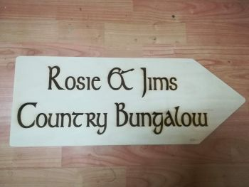 Birch Plywood House Arrow Sign Etched Customised Unvarnished