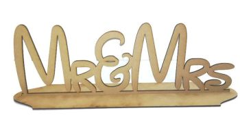 MDF Wooden Personalised Wedding / Name Stand Disney Style Mr&Mrs Table