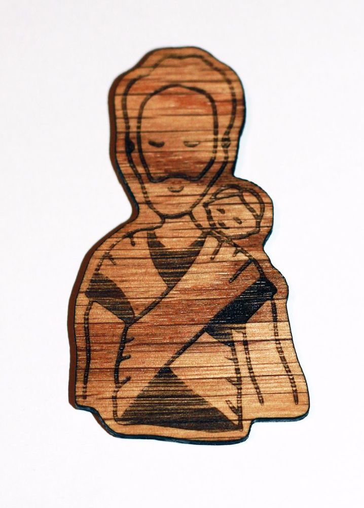 wooden magnet back wrapping dad
