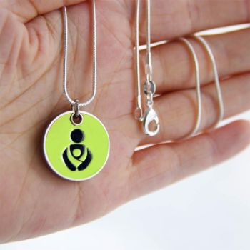 Lime Green Babywearing Token with Silver Necklace