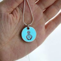 Turquoise Babywearing Token with Silver Necklace