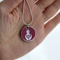 Maroon Babywearing Token with Silver Necklace