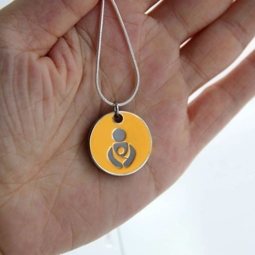 Sunset Yellow Babywearing Token with Silver Necklace