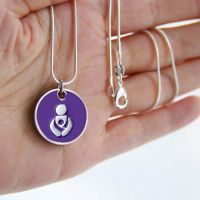 Purple Babywearing Token With Silver Necklace
