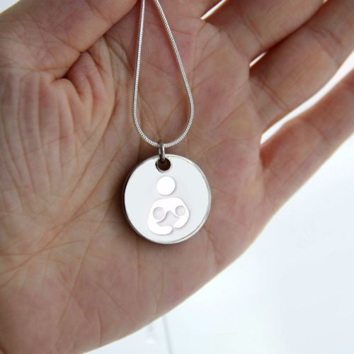 Tandem/Twin Breastfeeding with Silver Necklace