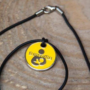 3 month Token with Black Cord Necklace