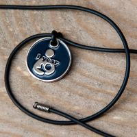 1 year Token with Black Cord Necklace