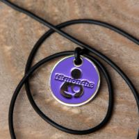 18 month Token with Black Cord Necklace