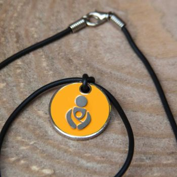 Sunset Yellow Babywearing Token with Black Cord Necklace