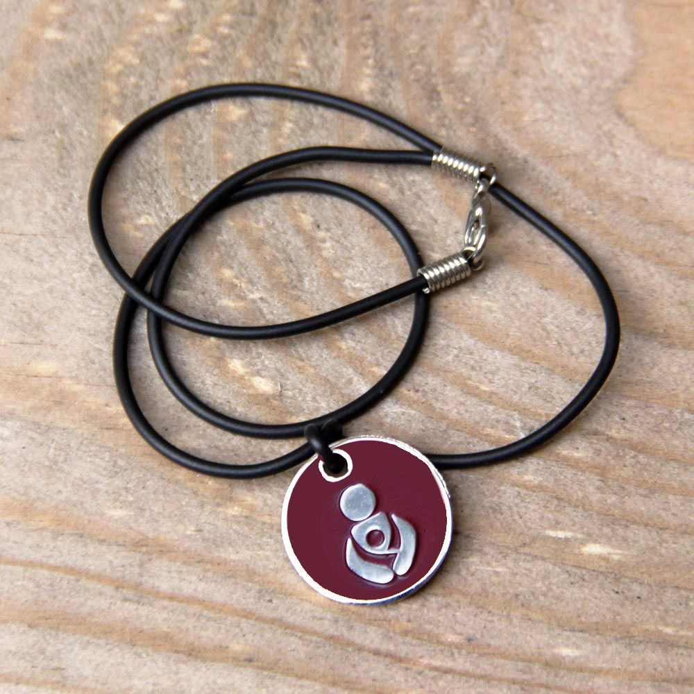 Maroon Babywearing Token with Black Cord Necklace