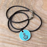 Turquoise Babywearing Token with Black Cord Necklace