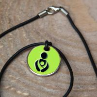 Lime Green Babywearing Token with Black Cord Necklace
