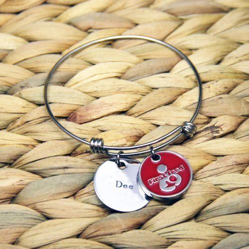 Treble loop bracelet with handstamped disk & token.