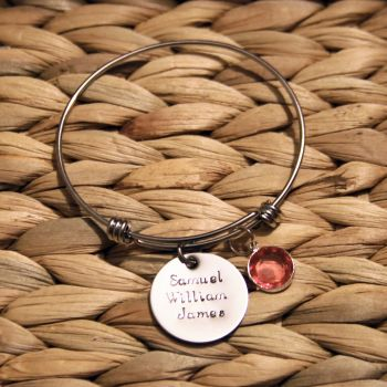 Treble loop bracelet with handstamped disk