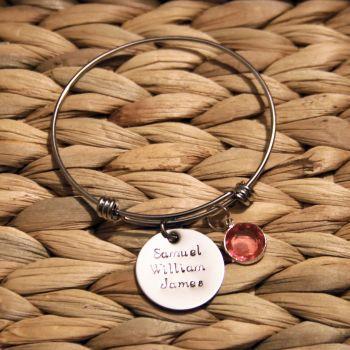 Treble loop bracelet with handstamped disk