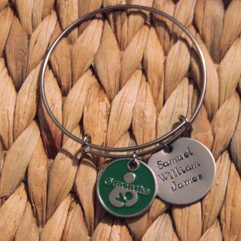 Single loop bracelet with handstamped disk and token