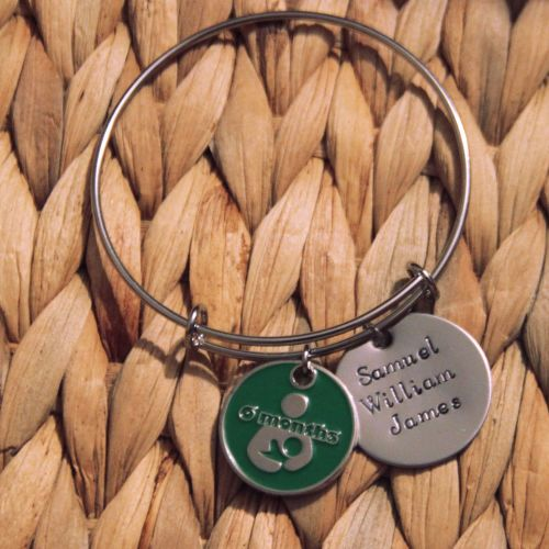 Single loop bracelet with handstamped disk and token