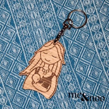 Wooden Keyring- Breastfeeding Mama