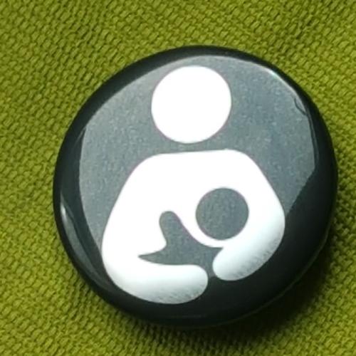 Breastfeeding logo button badge- Silver