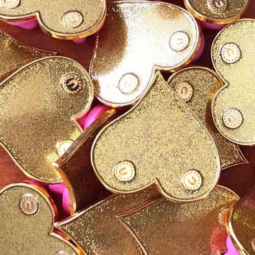 Gold boobie enamel pin badge