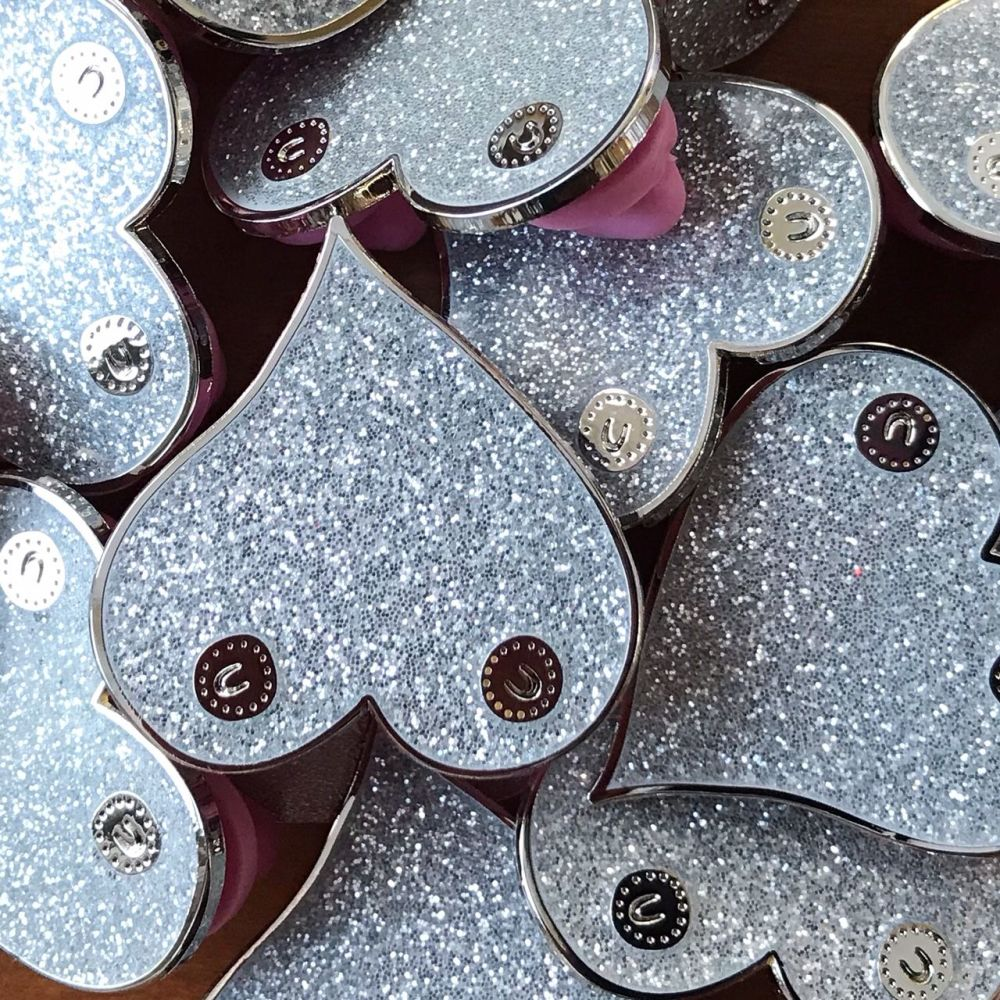 Platinum boobie enamel pin badge