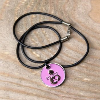 3 year Token with Black Cord Necklace