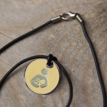 EBM Token with Black Cord Necklace