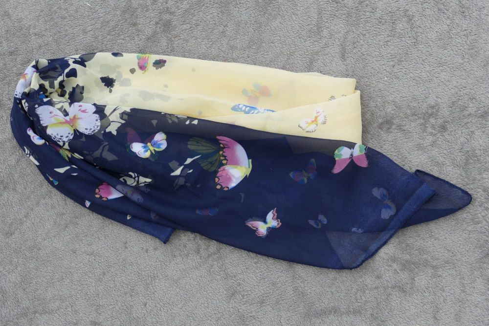 Butterfly Scarf - Navy & Yellow
