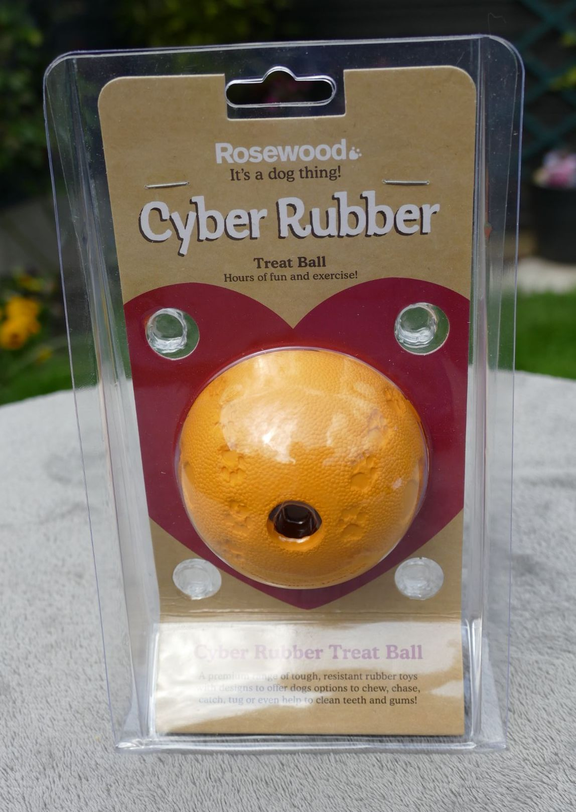 Rosewood Cyber Rubber Treat Ball - Small - Orange