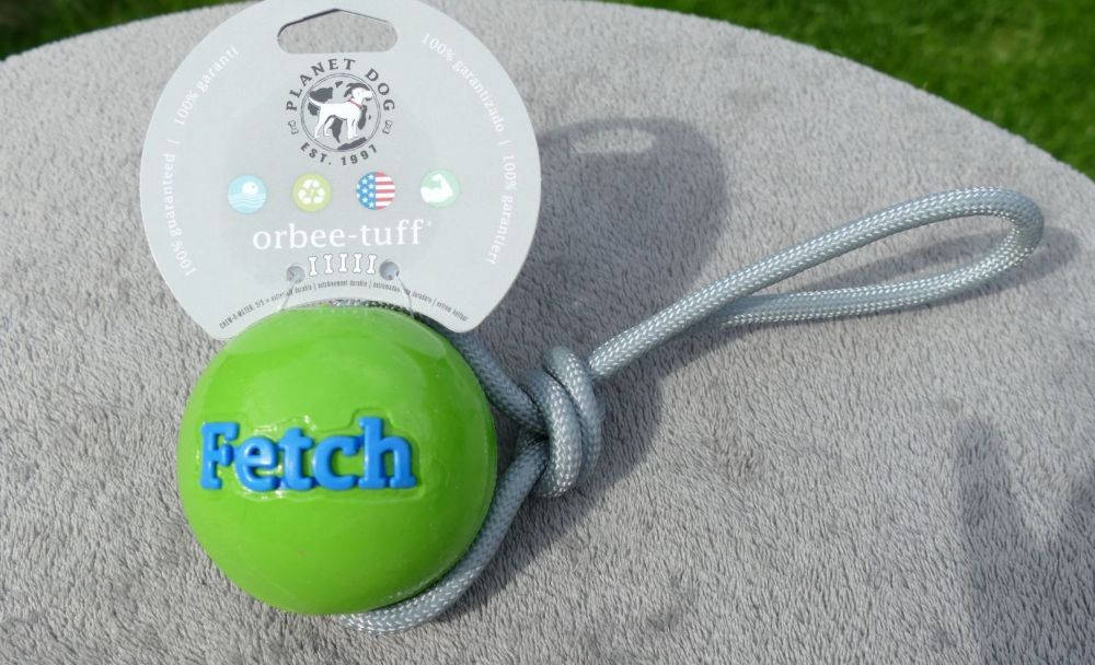Rosewood Fetch Ball with Rope Toy - Green
