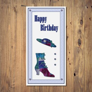 Patchwork Hat & Boot Birthday Card