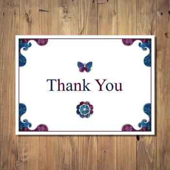Patchwork Four Corners Thank You Card