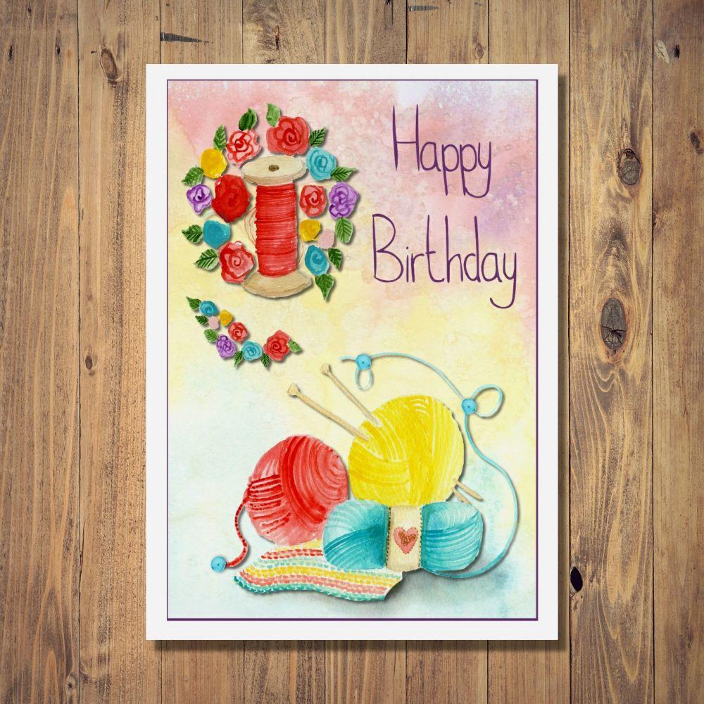 Knit & Sew Birthday Card