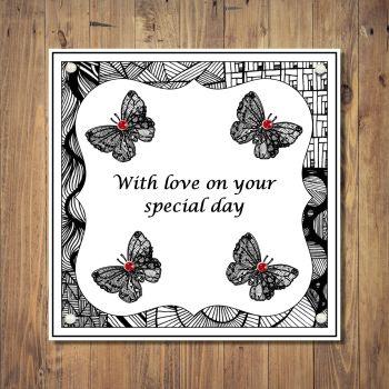 Zentangle Butterflies Special Day  Card