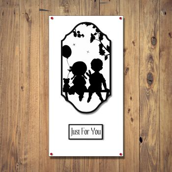 Boy and Girl Silhouette Any Occasion  Card