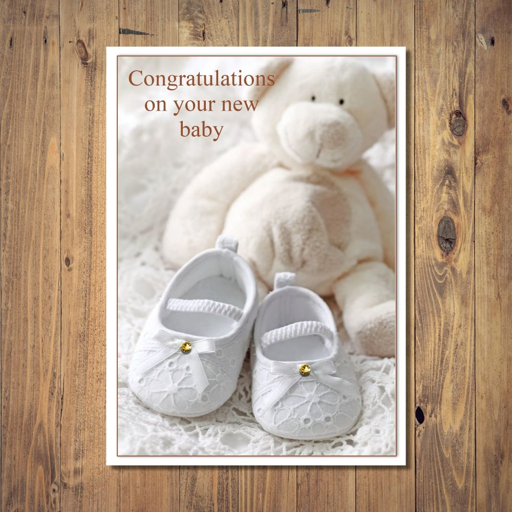Teddy And Shoes New Baby Card