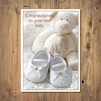 White Teddy And Shoes New Baby Card