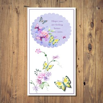 Butterflies  And Flowers Get Well Soon Card