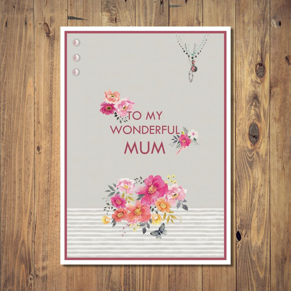 Wonderful Mum Floral Mother's Day Card
