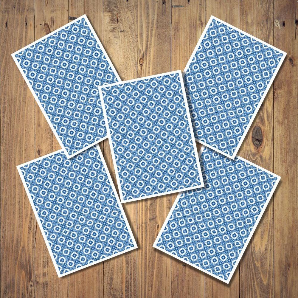 <!-- 002 -->Blue & White Tile Set of 5 Notecards