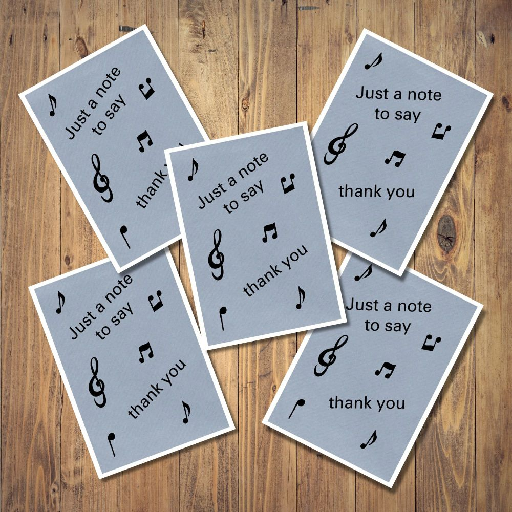 <!-- 004 -->Musical Notes Set of 5 Notecards